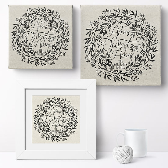 Personalised 'Home Wreath' Prints and Canvases 1