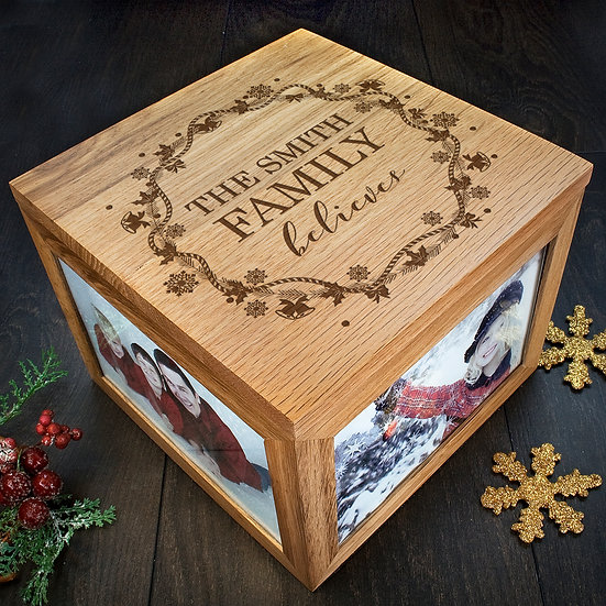 Personalised Our Family Believes Christmas Memory Box Corner View