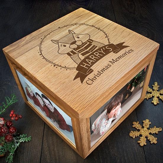 Personalised Woodland Chipmunk Christmas Memory Box Corner View