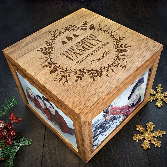 Personalised Christmas Memory Box Traditional Design Corner View
