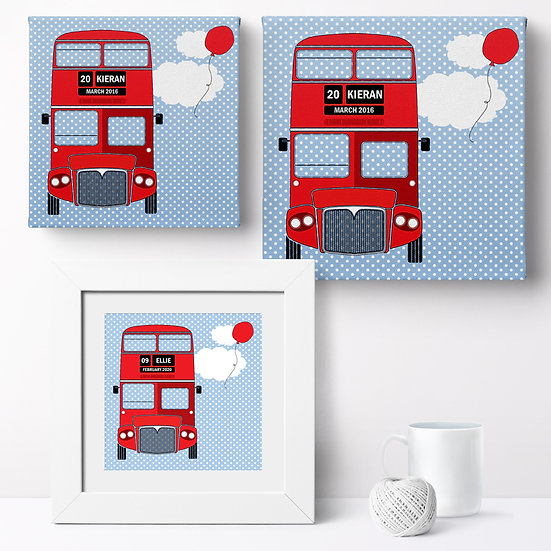 Personalised 'London Bus' Prints and Canvases 1