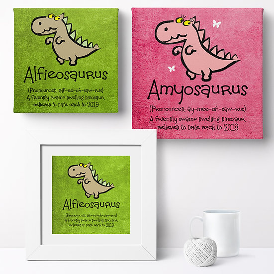 Personalised 'Cute Dinosaur' Prints and Canvases 1