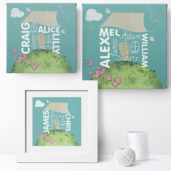 Personalised 'Family Home' Prints and Canvases 1