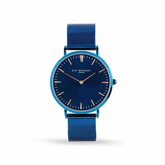 Personalised Minimalist Watch by Elie Beaumont in Electric Blue 1