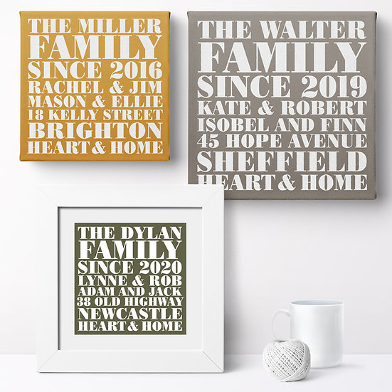 Personalised 'Heart & Home' Prints and Canvases