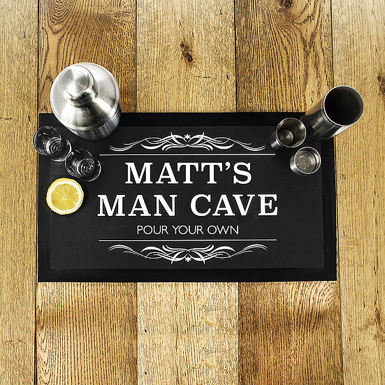 Personalised Man Cave Black Bar Mat First View