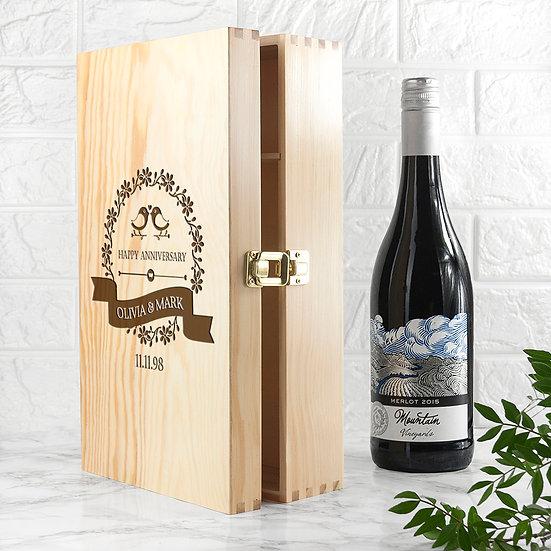 Personalised Happy Anniversary Wine Box 1st view