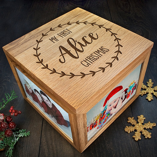 Personalised My First Christmas Memory Box Corner View