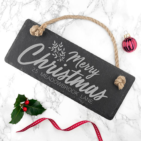 PERSONALISED MERRY CHRISTMAS SLATE HANGING SIGN First View