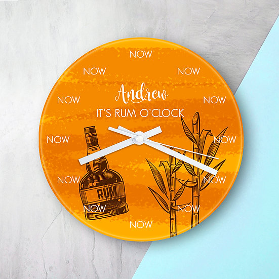 Personalised Rum O'Clock Glass Clock