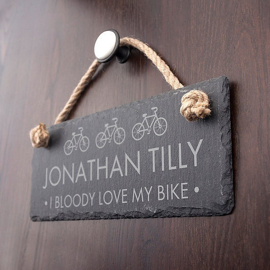 Personalised I Bloody Love My Bicycle Slate Hanging Sign 1st View