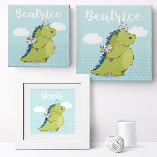 Personalised 'Cute Dragon' Prints and Canvases 1