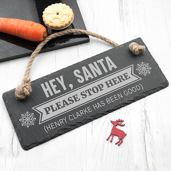 Personalised Hey Santa! Slate Hanging Sign 1st View