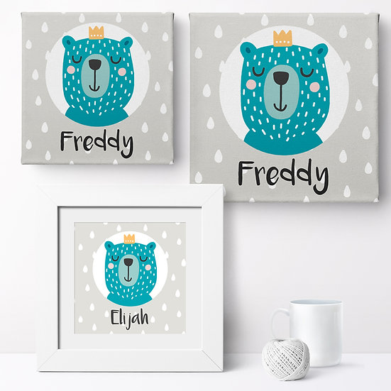 Personalised Bear Prince Canvases and Prints 1