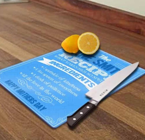 Personalised Recipe of Mum Glass Chopping Board Blue