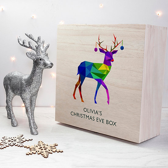 Personalised Geometric Reindeer Christmas Eve Box Large Front View
