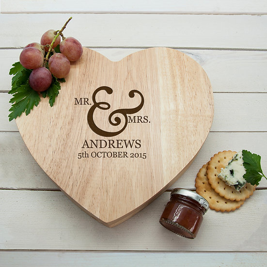 Personalised Classic Couples' Romantic Heart Cheese Board