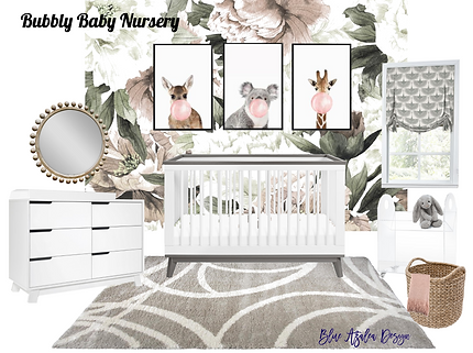 Girls Nursery_Gray Pink_Blue Azalea Desi