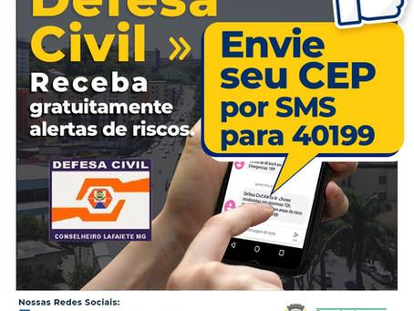 Defesa Civil de Conselheiro Lafaiete passa a enviar gratuitamente alerta de riscos