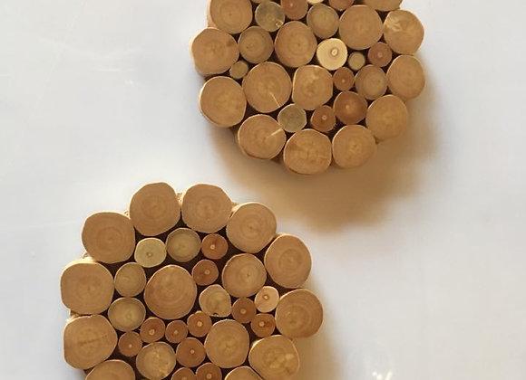 Base de madeira para copos