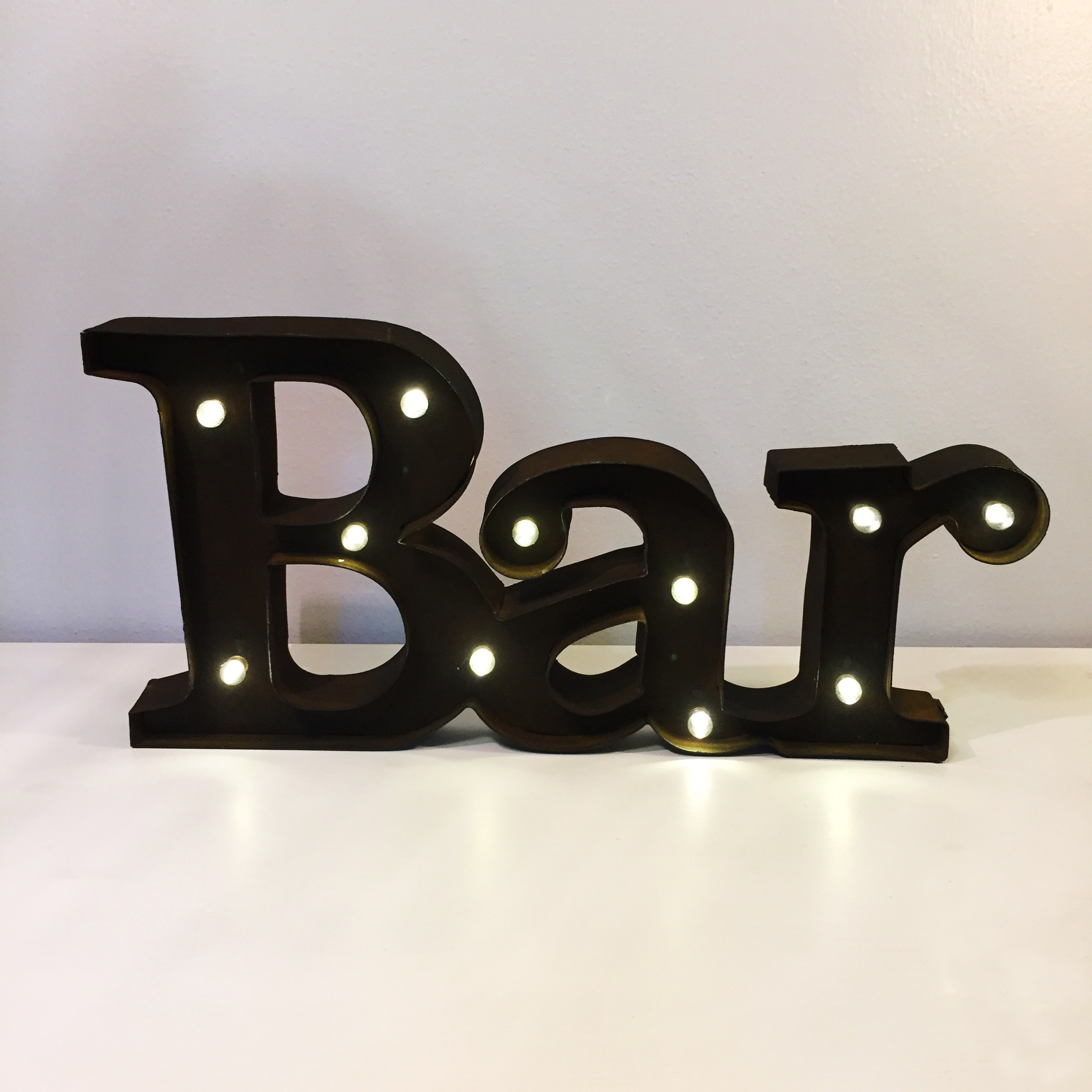 Rustic Light Up Bar Sign