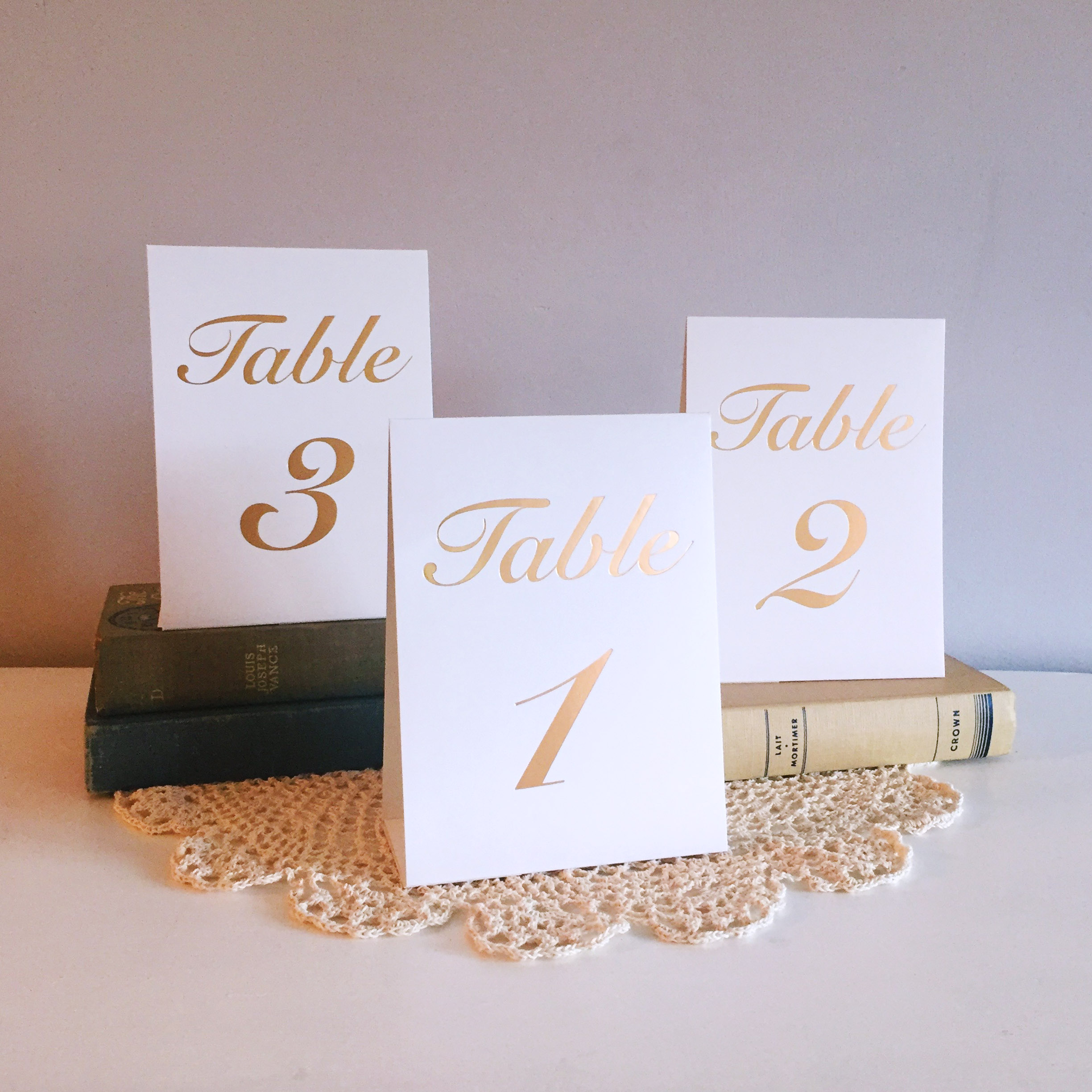Gold Letter Table Numbers
