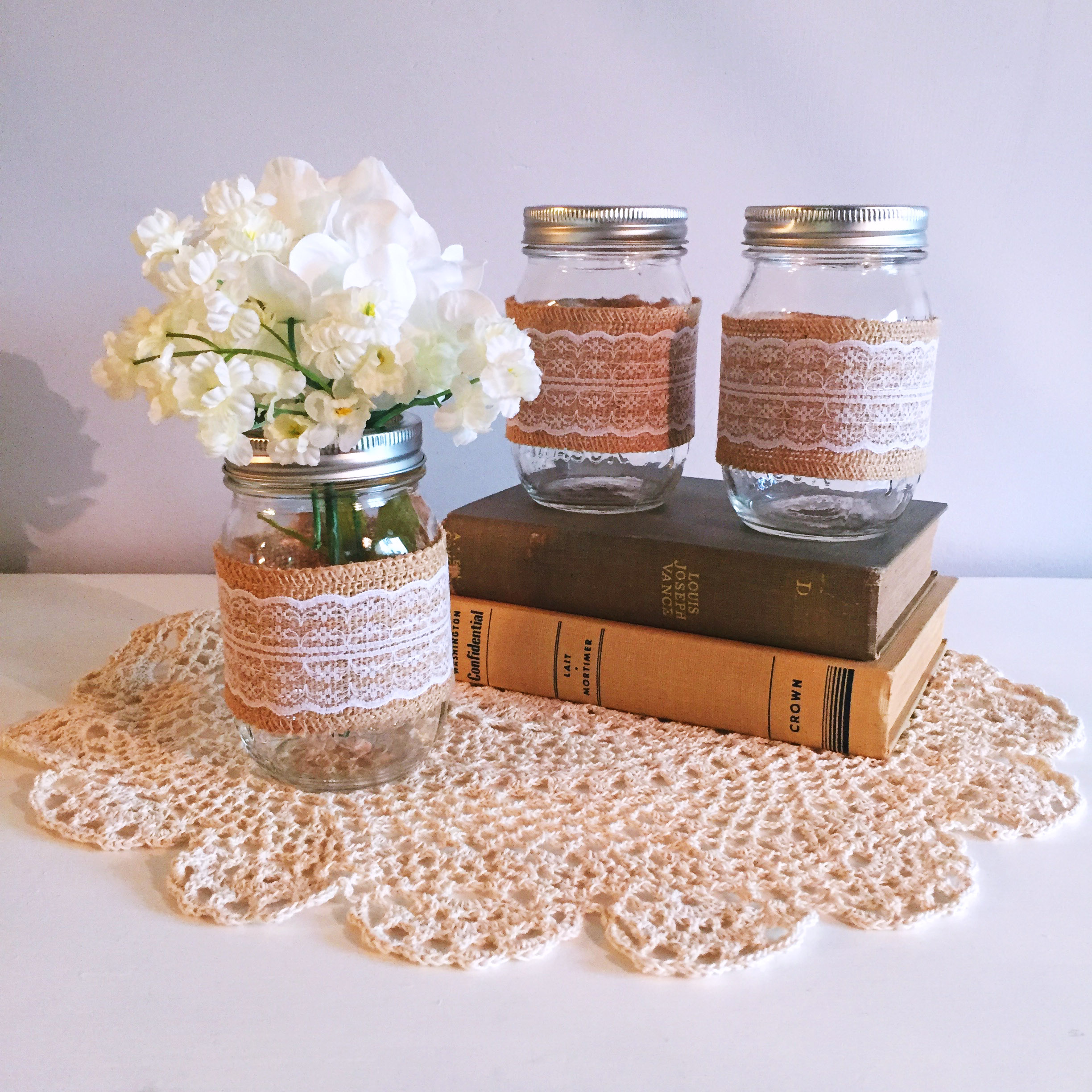 Wrapped Mason Jars