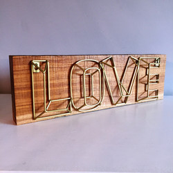 Gold Love Sign with wood