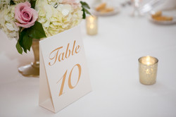 Table Numbers & Gold votive