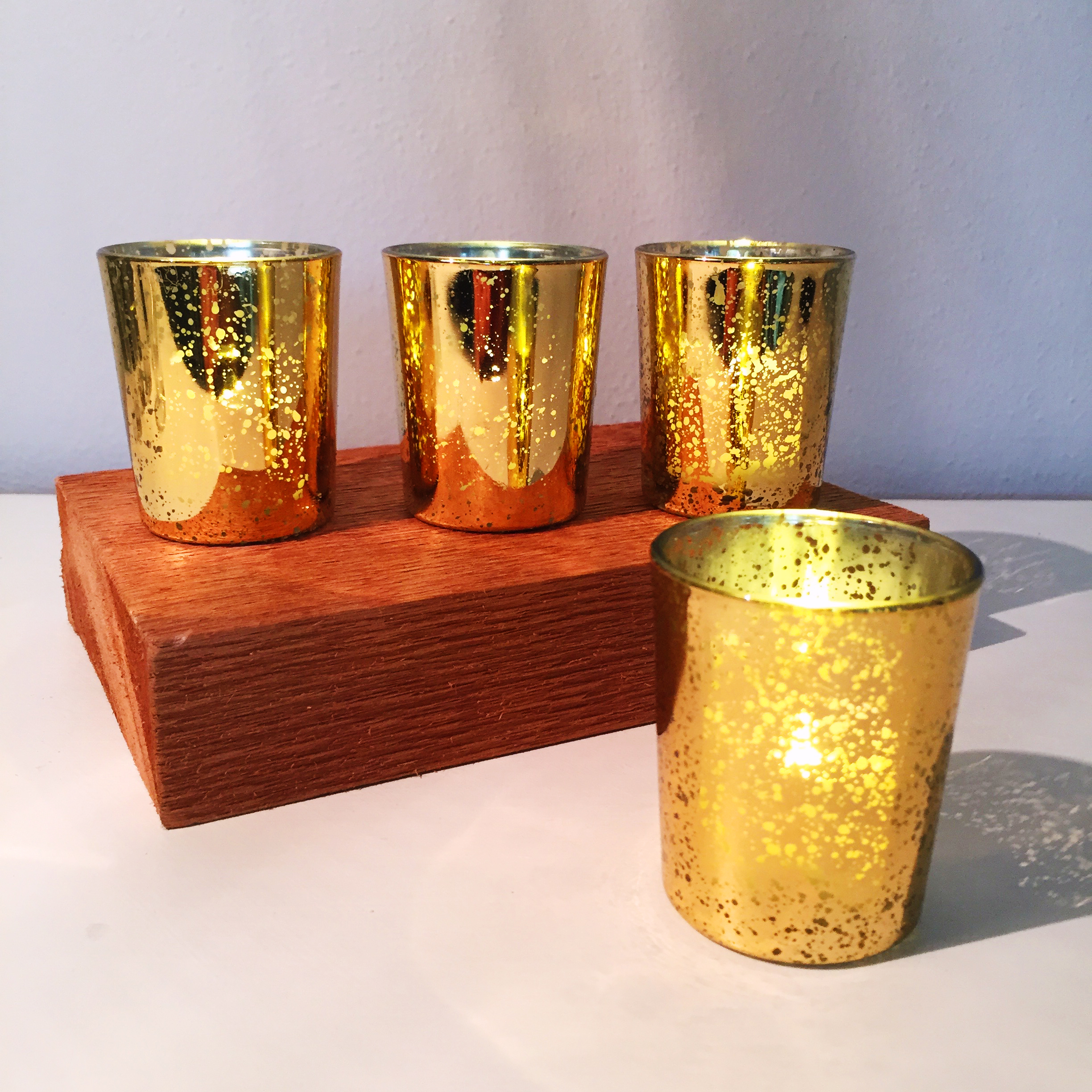 Gold Mercury Glass Votives