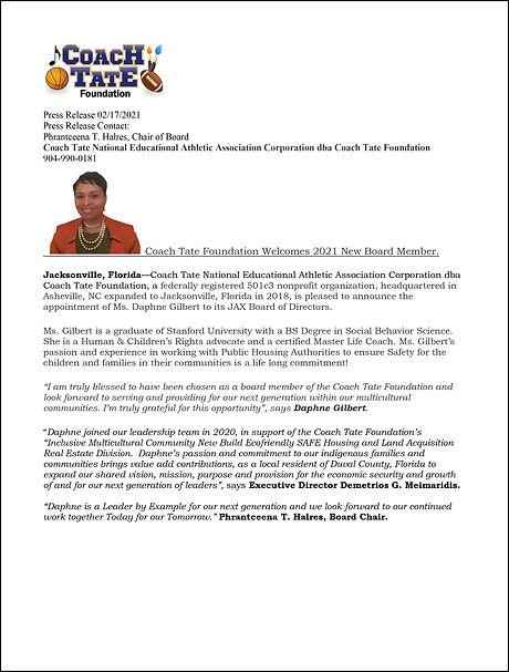 Press Release for Daphne Gilbert 2021 2.