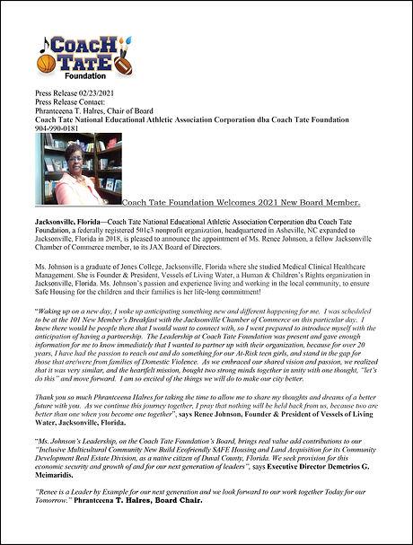 +Press Release for Renee Johnson JAX 202