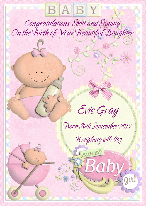 Cute baby girl birth personalised greeting card a beautiful greeting card to celebrate a wonderful occasion make the parents of the baby girls day extra special by giving them a unique handmade greeting m4hsunfo