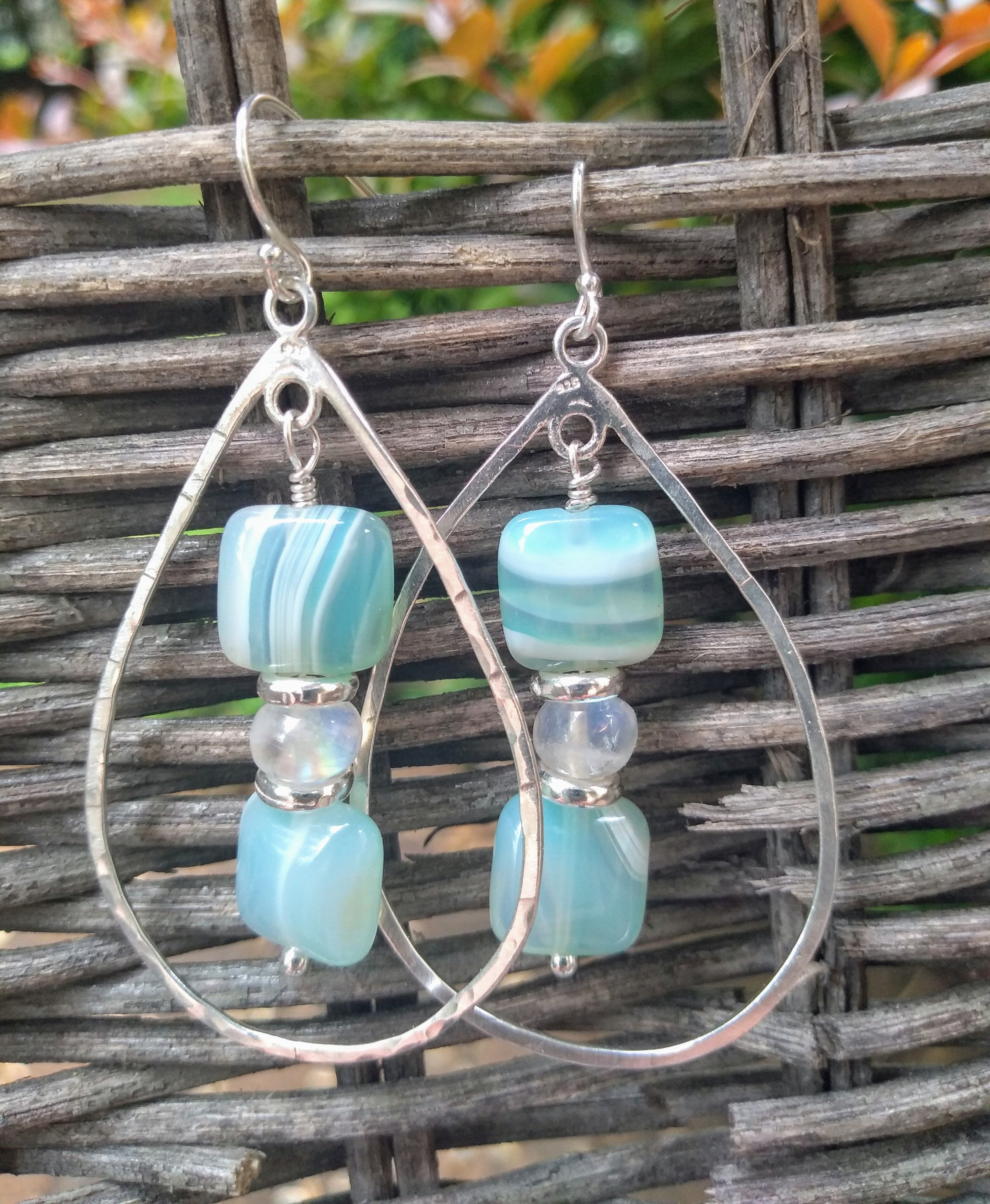 9e701d0689826 Delicately bold agate and moonstone silver hoop dangles | Moonlight Elixir