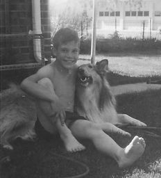 Mountain Dog Whisperer at a tender age with Buff, his collie.
