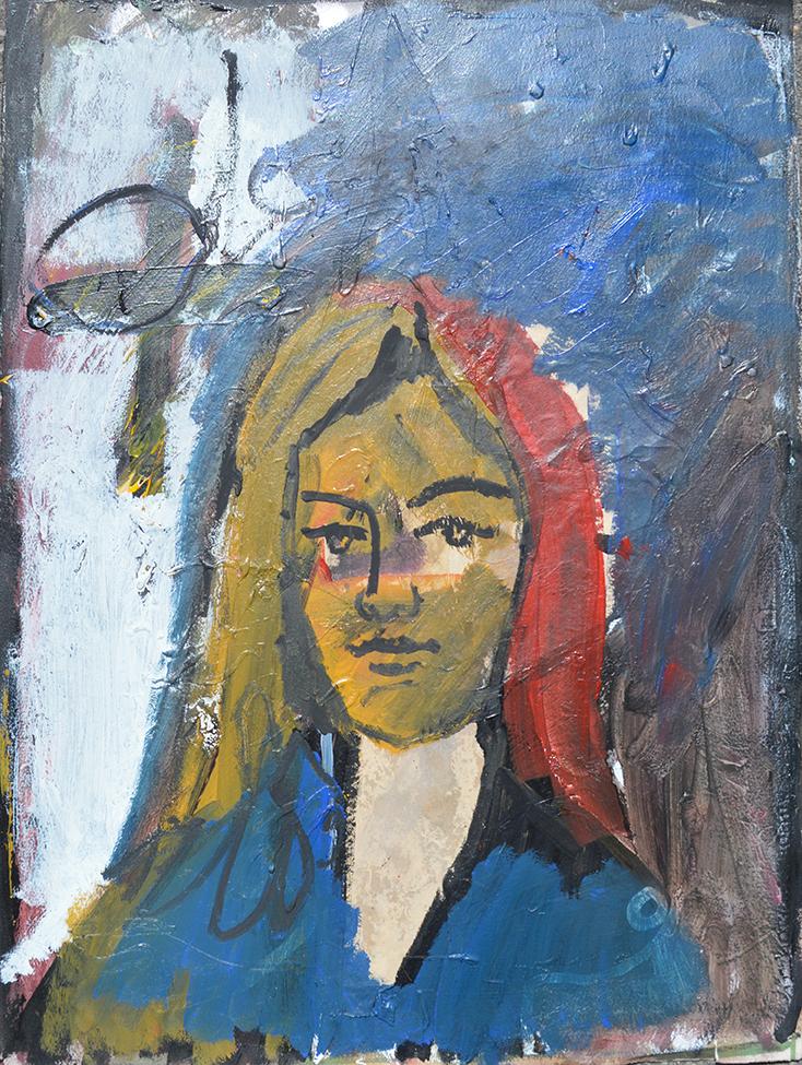 Portrait sur fond bleu