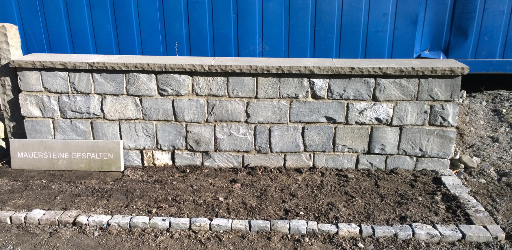 Schwarzachtobler Sandstein Mauersteine maschinell gespalten