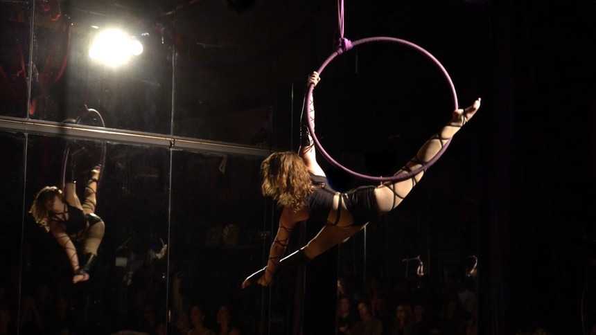 Screenshot from a performance video