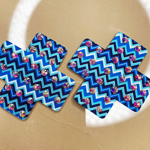 Mini Blue Zig Zag Crosses