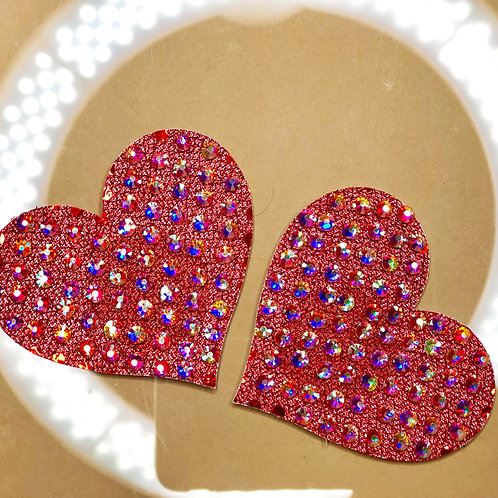 Red Shimmer Hearts