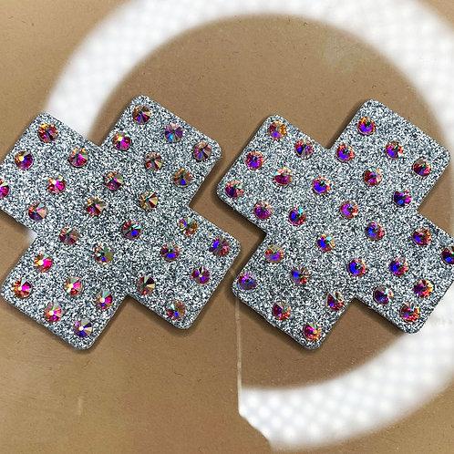 Mini Shimmer Silver Crosses