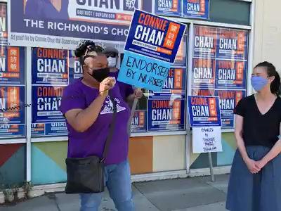 醫護人員及前綫員工舉行集會 支持市參事候選人陳詩敏 / Essential Workers support Connie Chan