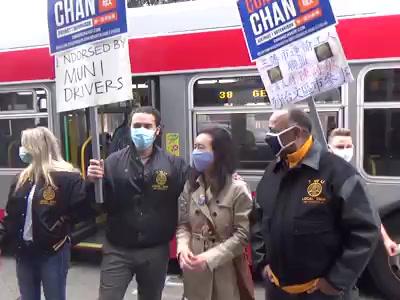 三藩市: 陳詩敏和司機工會 共同支持「公共交通週」/ Transit Workers Support Connie Chan