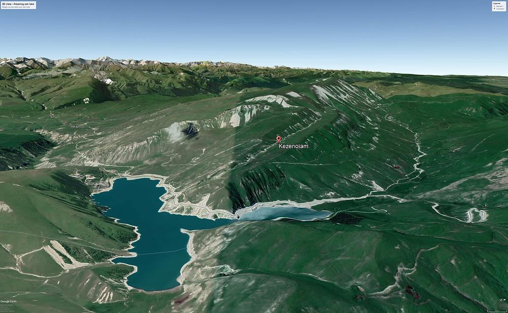 lac kezenoy-am, tchétchénie, plongeur