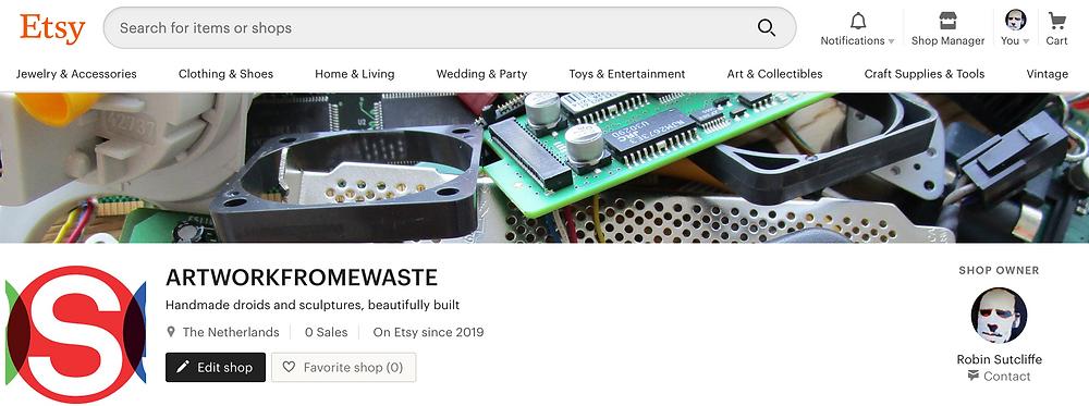 screenshot of etsy shop