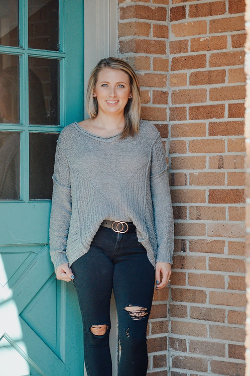 Heather Grey Knit Long Sleeve V-Neck Sweater