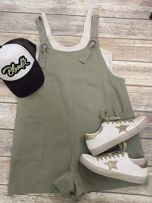 Olive twill overalls