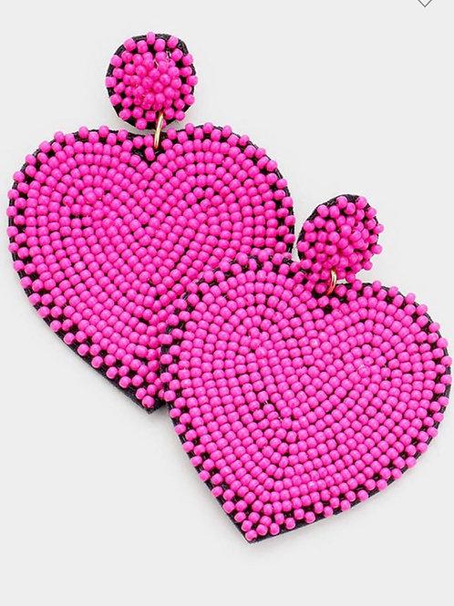Fuchsia Beaded Heart Earrings