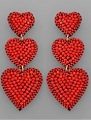 Red Beaded Hearts Earrings