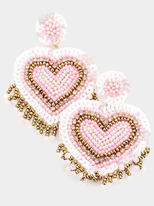 Light Pink Beaded Heart Earrings